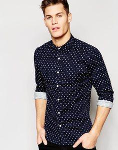 Темно-синяя зауженная рубашка в горошек с длинными рукавами ASOS - Темно-синий