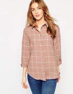 Серо-коричневая рубашка бойфренда в кремовую клетку ASOS - Мульти