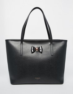 Кожаная сумка-шоппер с бантом Ted Baker - Черный