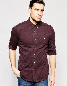 Бордовая трикотажная рубашка с длинным рукавом ASOS - Burgundy