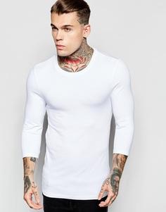 Белая облегающая футболка с круглым вырезом и рукавами 3/4 ASOS - Белый