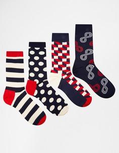 Набор из 4 пар носков в подарочной упаковке Happy Socks - Мульти
