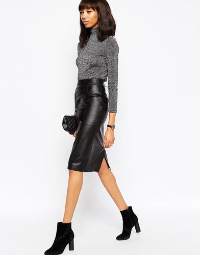 Кожаная юбка-карандаш миди ASOS - Черный