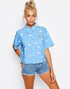 Рубашка с короткими рукавами, облаками и радугой Lazy Oaf - Синий