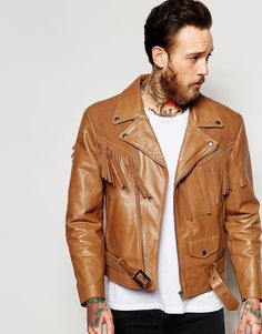 Светло-коричневая кожаная куртка с замшевой бахромой ASOS - Рыжий