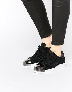 Черные кроссовки в стиле 80‑х с металлической вставкой на носке adidas Originals Superstar - Черный
