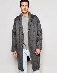 Полушерстяное пальто с заниженной линей плеч ASOS - Серый
