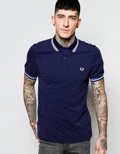 Приталенная футболка-поло в горошек Fred Perry - Графитовый синий