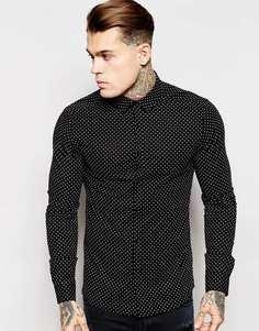 Рубашка в горошек зауженного кроя с длинными рукавами ASOS - Черный
