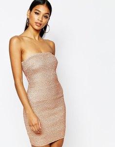 Бандажное платье-бандо с отделкой металлик WOW Couture - Розовое золото
