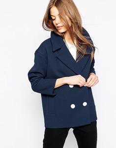 Двубортная куртка ASOS - Темно-синий