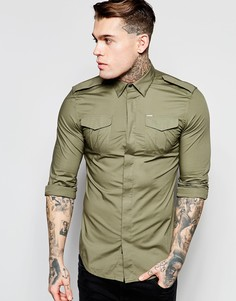 Зеленая рубашка слим в стиле милитари Diesel S-Haul - Зеленый