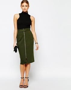 Структурированная юбка‑карандаш Love - Зеленый хаки