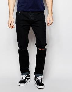 Облегающие джинсы с элементами поношенности D-Struct - Черный