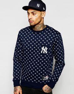 Свитшот с принтом Majestic New York Yankees - Темно-синий