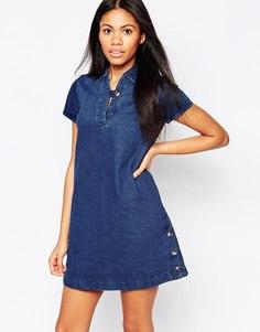 Цельнокройное платье с пуговицей Influence - Джинсовая ткань цвета индиго