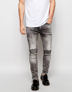 Зауженные джинсы с байкерской отделкой Religion - Выбеленный серый