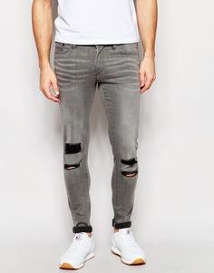 Супероблегающие серые джинсы с рваными коленями Waven Erling - Серый