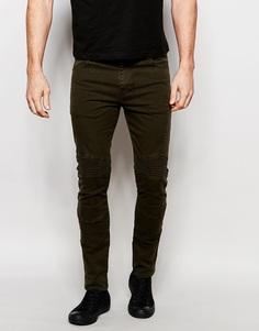 Супероблегающие джинсы цвета хаки с байкерской отделкой ASOS - Forest night