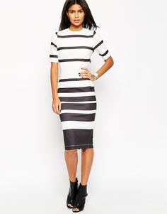 Облегающее платье в монохромную полоску ASOS - Черно-белый