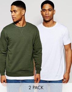 Свитшот и длинная футболка ASOS, комплект из 2 шт., цвет хаки/белый,