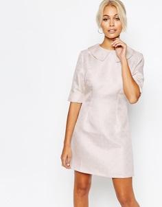 Парчовое платье‑трапеция с воротником Fashion Union - Розовый