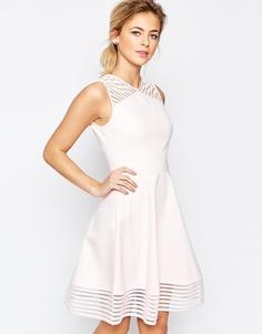 Короткое приталенное платье с сетчатой отделкой Ted Baker Eleese - Розовый