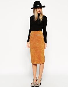 Замшевая юбка-карандаш длины миди с карманами и фигурной молнией ASOS - Рыжий
