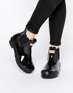 Черные лакированные ботинки челси Hunter Original - Черный глянцевый