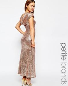 Платье макси с пайетками и свободным вырезом сзади Maya Petite - Розовое золото