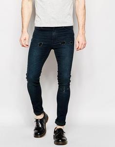 Темные выбеленные облегающие джинсы стретч Cheap Monday - Smudge Тrashed