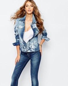 Джинсовая куртка с цветочным принтом Versace Jeans - Синий