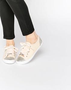 Кроссовки телесного цвета с отделкой Lipsy Anna - Телесный