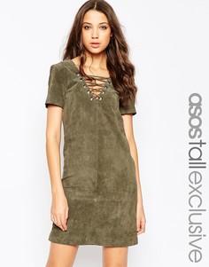 Замшевое платье со шнуровкой ASOS TALL - Хаки