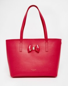 Розовая кожаная сумка-шоппер с фактурной отделкой и бантиком Ted Baker - Фуксия