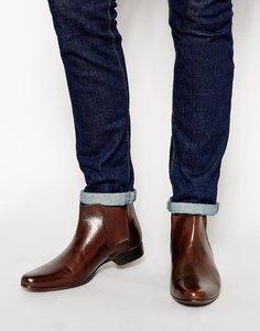 Коричневые кожаные ботинки челси с петлей на заднике ASOS - Коричневая кожа