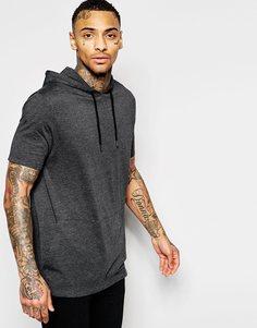 Длинная свободная футболка с капюшоном и карманом-кенгуру ASOS - Угольный меланжевый