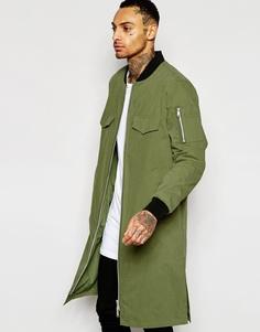 Удлиненная куртка-пилот цвета хаки ASOS - Хаки