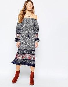 Платье миди с открытыми плечами и боковыми разрезами Diya - Мульти