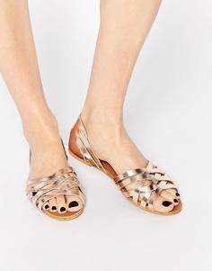 Кожаные летние туфли ASOS JINNY - Золотой