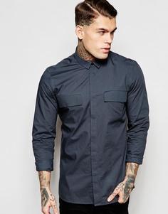 Темно-серая рубашка в стиле милитари с длинными рукавами ASOS - Угольный