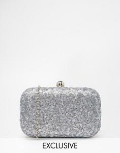 Расшитый серыми пайетками клатч-футляр Chi Chi London - Серые блестки