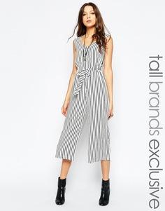 Комбинезон с широкими штанинами и принтом в тонкую полоску Glamorous Tall - Мульти