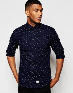 Рубашка слим с цветочным принтом Blend - Темно-синий