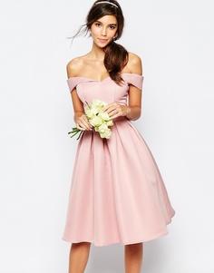 Платье миди для выпускного с пышной юбкой Chi Chi London - Свадебная роза