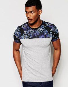 Облегающая серая футболка с цветочным принтом на кокетке и рукавах ASOS - Серый меланж