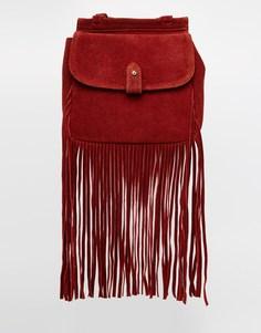 Замшевый рюкзак с бахромой ASOS - Ягодный