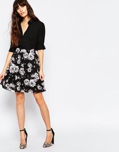 Юбка с завышенной талией и цветочным принтом Minimum - 999 черный
