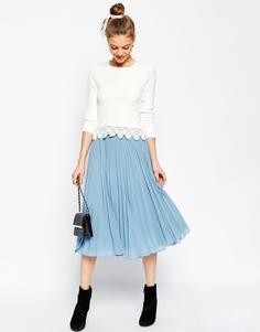 Плиссированная юбка миди ASOS - Бледно-синий