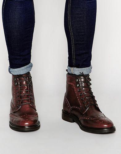 Бордовые кожаные ботинки‑броги ASOS - Burgundy
